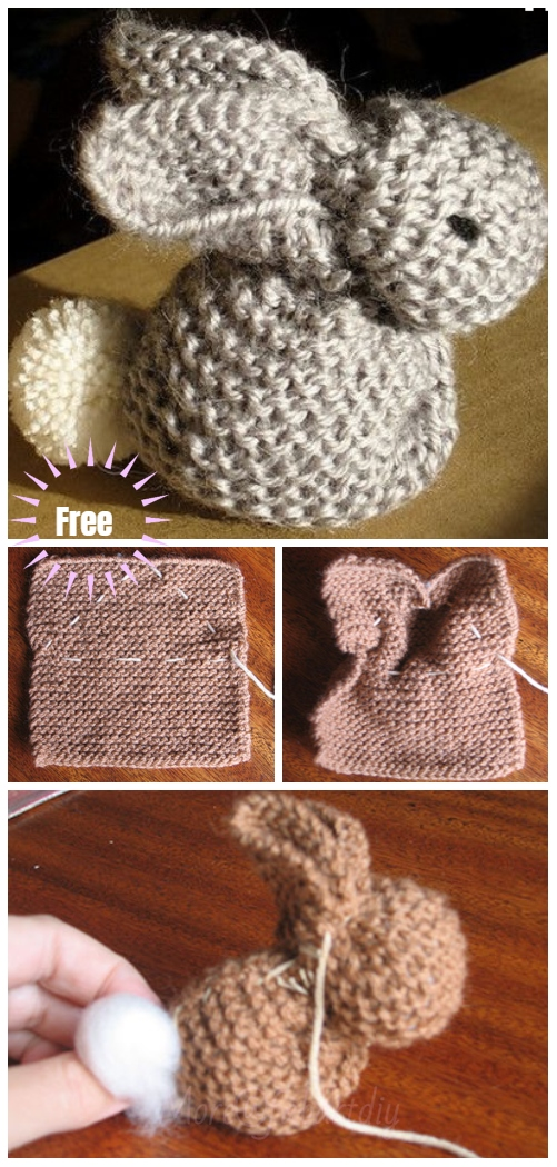 DIY Cute Knitted Bunny From A Square Free Knitting Pattern