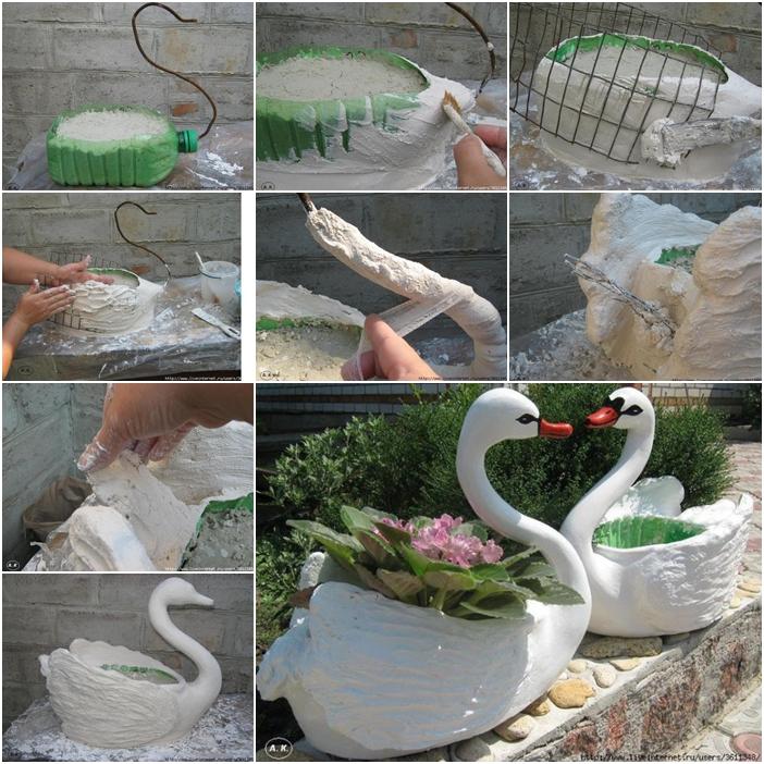 DIY Swan Pot Planter from Plastic Bottles Tutorial
