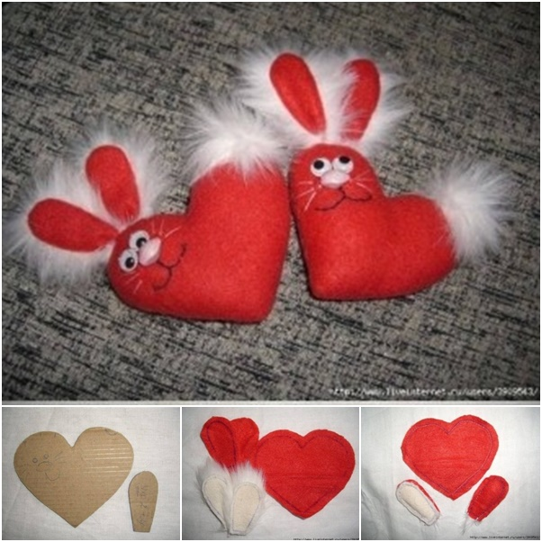 DIY Fuzzy Valentine Bunny Plushie Free Sewing Patterns