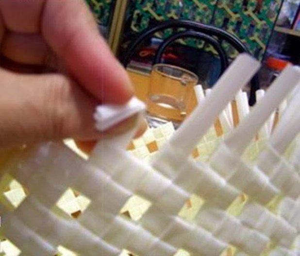 DIY Drinking Straw Basket Organizer Tutorial 15
