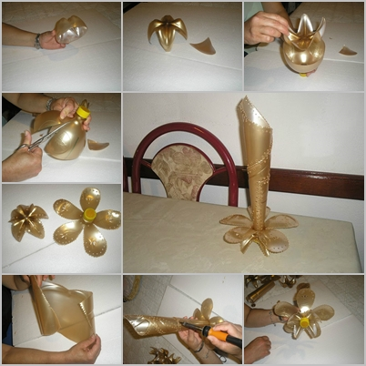 How To Make Flower Vase With Plastic Bottle Step By Step Flowers