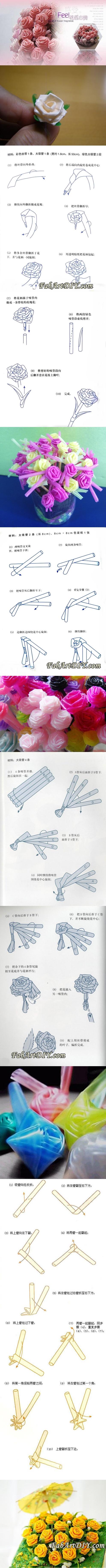 4 straw roses illustrations