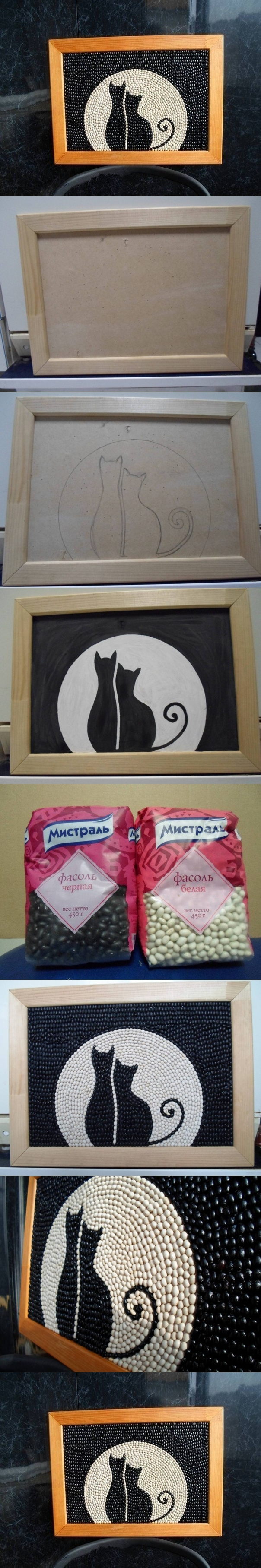 Bean cat frame wallart