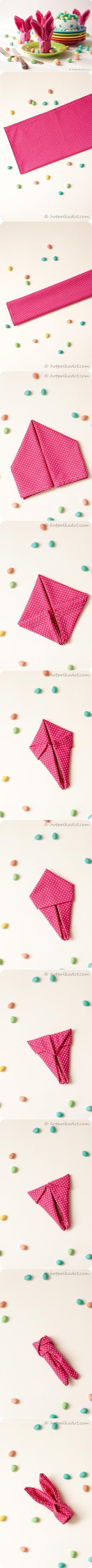 Bunny napkin folding tutorial
