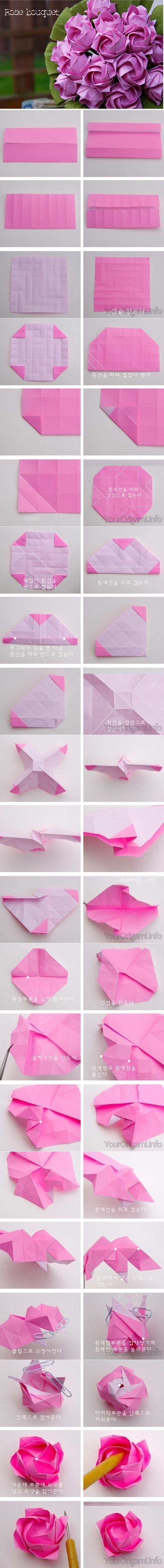 Diy Beautiful Origami Paper Rose Bouquet Fab Art Diy