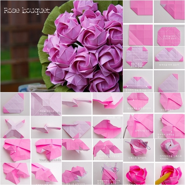 Diy beautiful origami paper rose bouquet fab art diy mightylinksfo Gallery