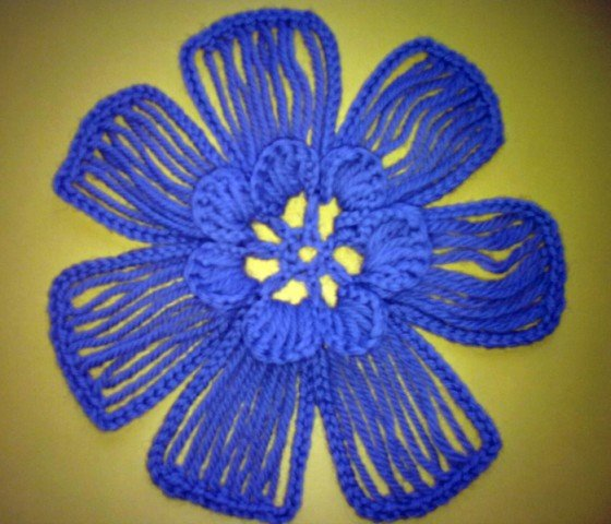 DIY Crochet Flower with Crochet Fork and Hook
