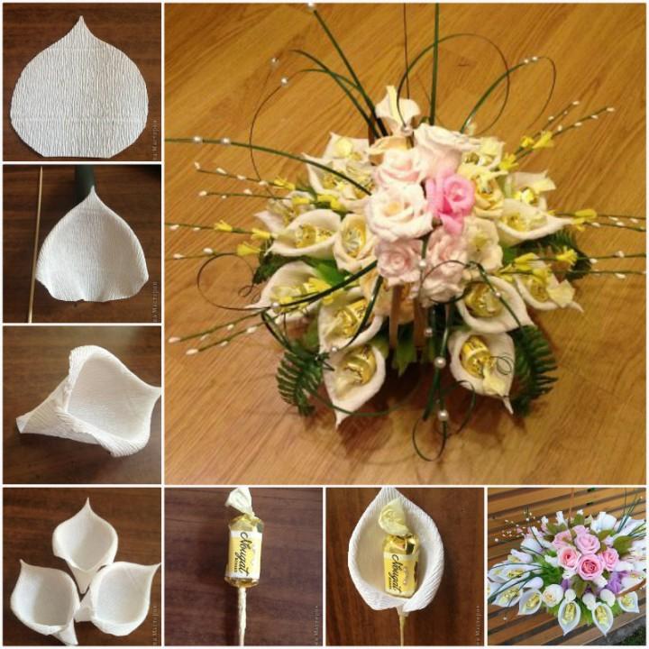 Цветы из конфет мастер класс с