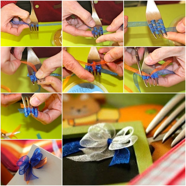 DIY Perfect Double Ribbon Bow Tie with Forks
