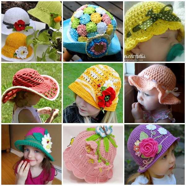 Free Patterns Crochet For Hats : 20+ DIY Crochet Girls Sun Hat with Pattern