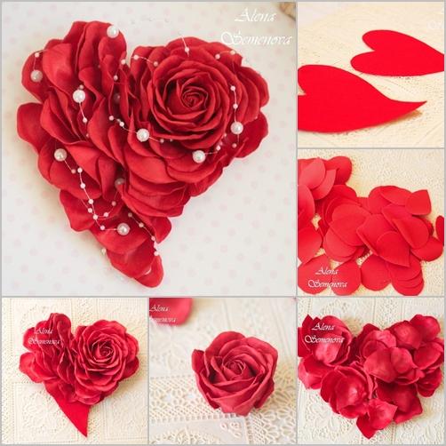 Valentine DIY Paper Rose Heart Wreath Wall Decor Tutorial