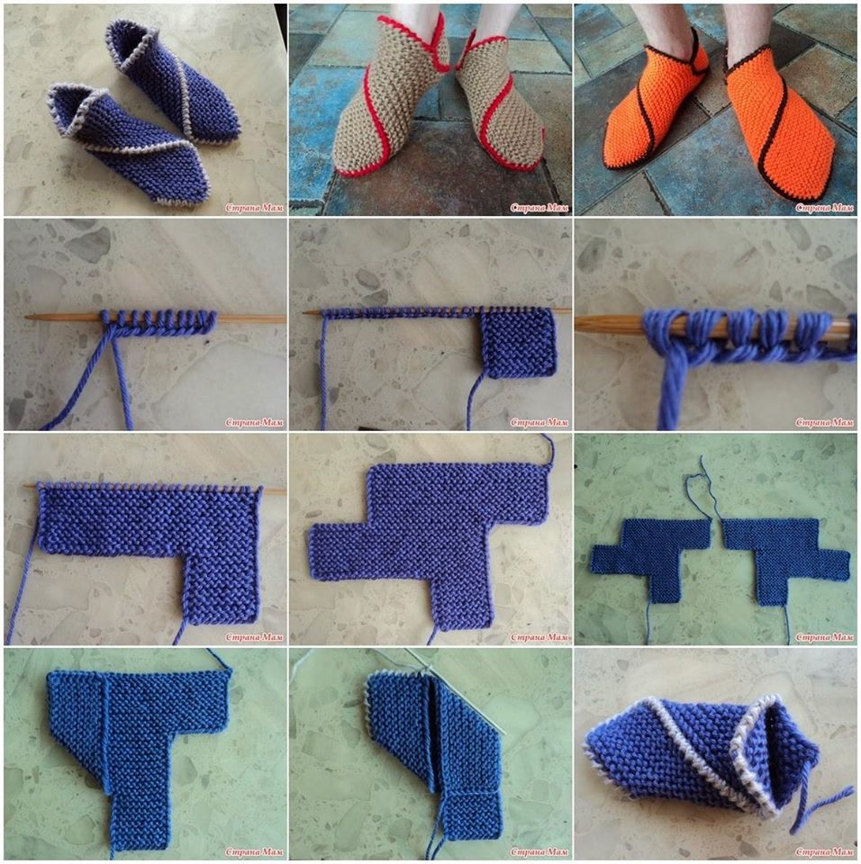 Knitted slippers Chipolino spokes Tutorial