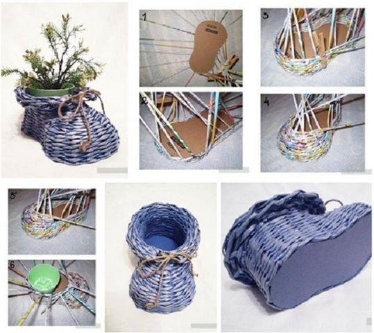 DIY Newpaper Roll Woven Shoe Vase Instructions and Tutorial