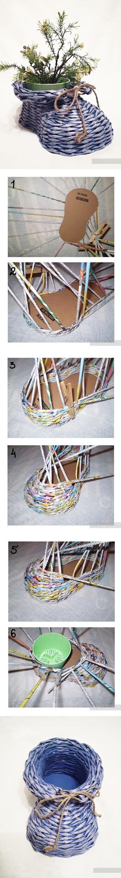 DIY Newpaper Roll Woven Shoe Vase tutorial