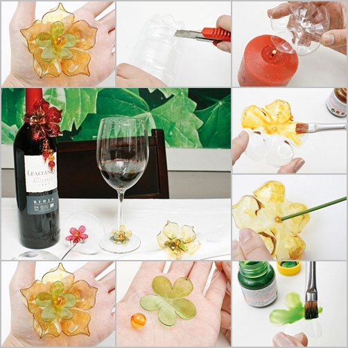 Wine bottle glass decor set feature