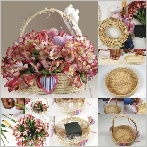 DIY Twine Rope Basket tutorial with Hot Glue Gun