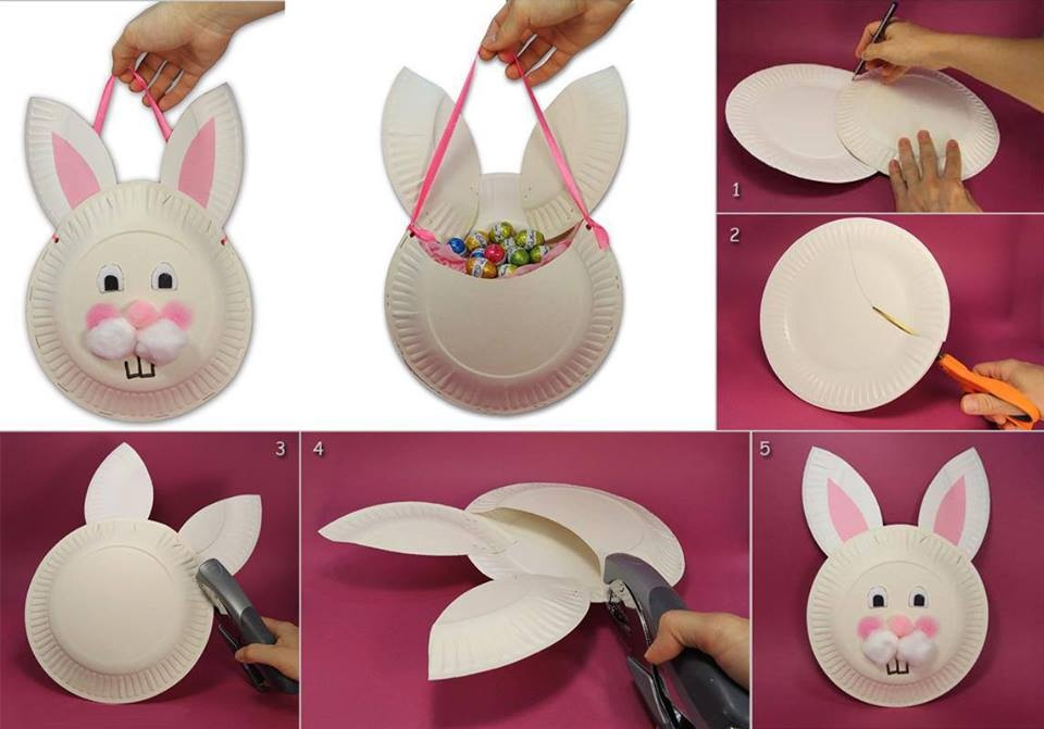 This Easter bunny basket made from paper plate is fun to make with your children. A few simple household items will be transformed into a fun and useful ... : paper plate rabbit - pezcame.com