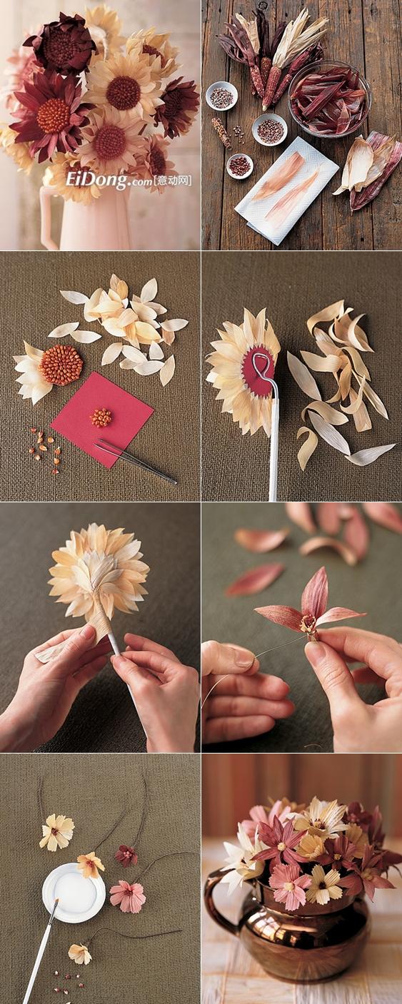 DIY Cornhusk Flowers tutorial