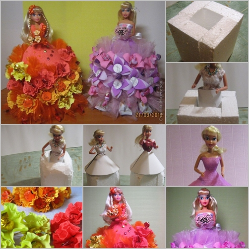 crepe paper candy barbie dress