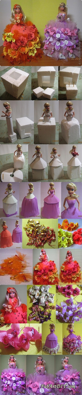crepe paper chocolate barbie dress tutorial