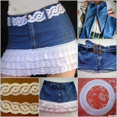Crochet Jeans : How to DIY Crochet layered Skirt from Old Jean