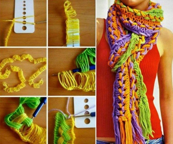 hook on the line scarf using ruler free pattern
