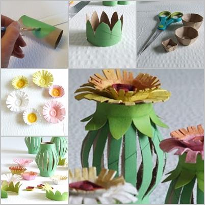 Toilet Paper Roll Egg Carton Flower Lantern