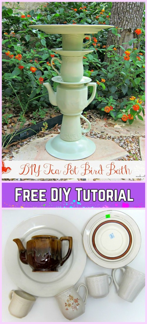 DIY Tea Pot Bird Feeder tutorial