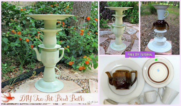 Recycle Project: DIY Tea Pot Bird Bath Tutorial