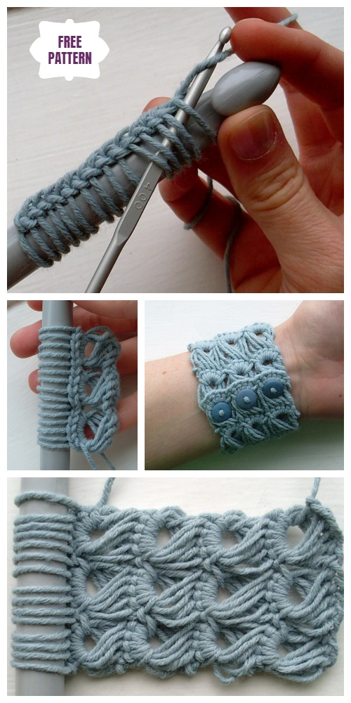 Stylish Crochet Broomstick Lace Bracelet Free Crochet Pattern - Video