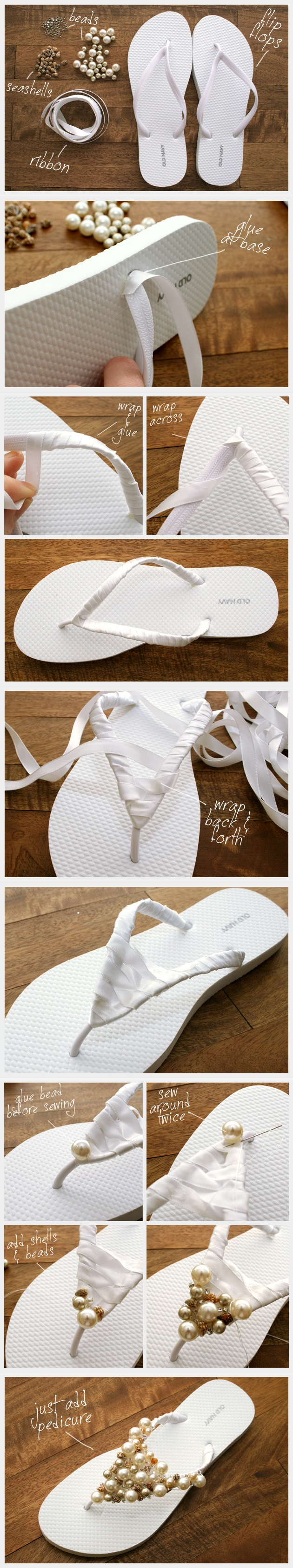 flipflop with pearls tutorial