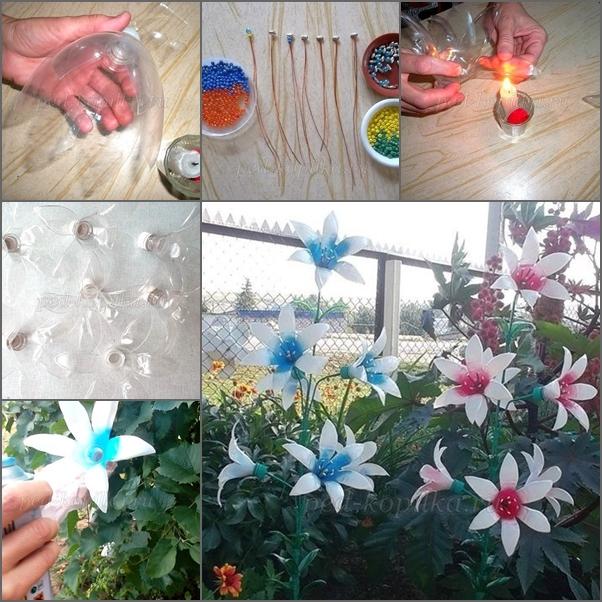 Diy plastic bottle flower for garden decor for Plastic bottle decoration images
