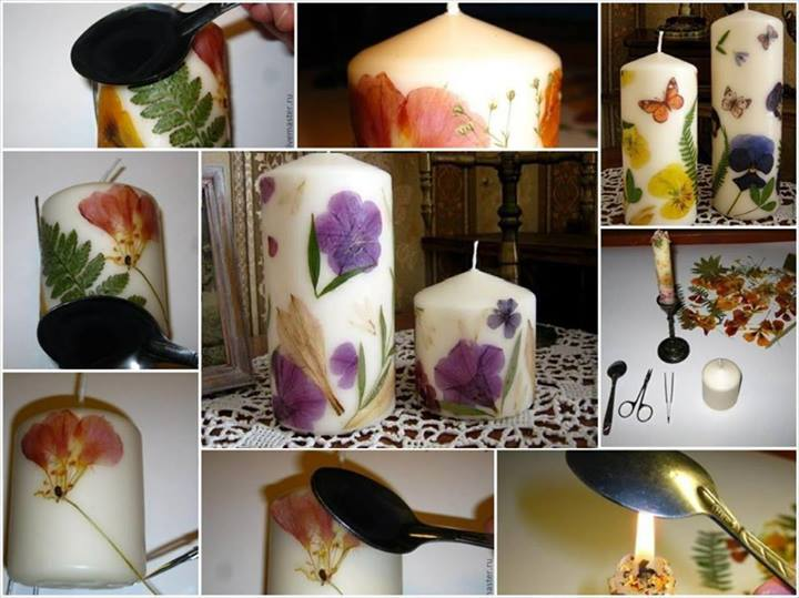 Diy Decoupaged Candle With Dried Flower