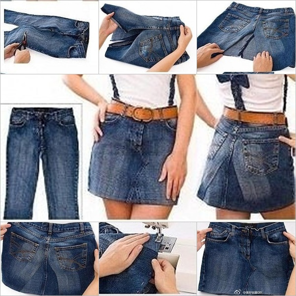 DIY Skirt with Shoulder Straps from Old Jeans - Fab Art DIY