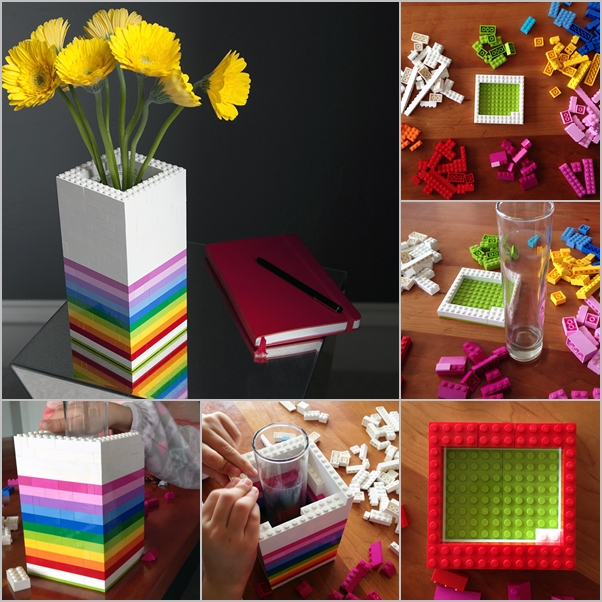 How to DIY Rainbow Lego Vase tutorial