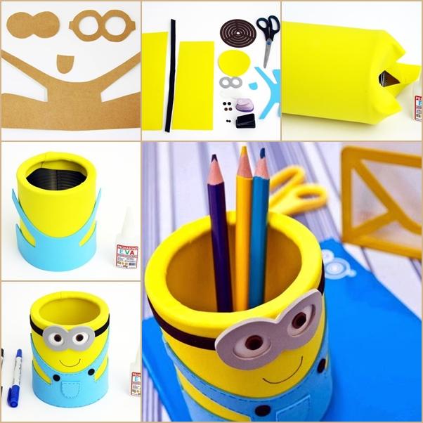 DIY EVA Minion Pencil Organizer from Can