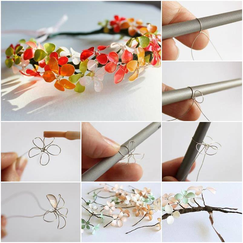 Diy wire nail polish spring flower for Nail polish diy projects