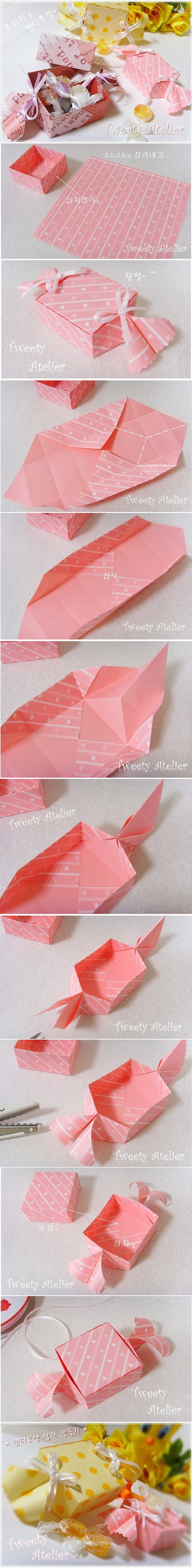 DIY Candy Shaped Paper Candy Gift Box-ORIGAMI gift box tutorial (with picture)