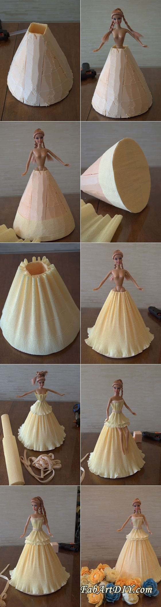 DIY Crepe Paper Barbie Dress Flower Bouquet