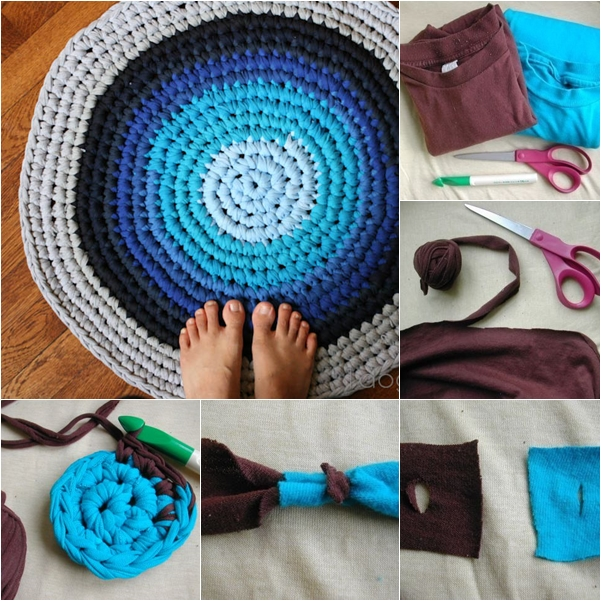 DIY Crochet Rag Rug from Old T-shirts tutorial