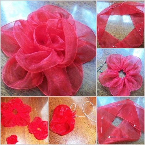 silk ribbon rose feature