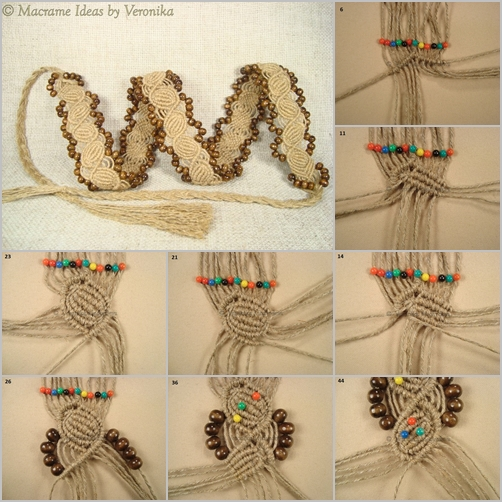 DIY Macrame Twine Cord and Bead Coquille Belt