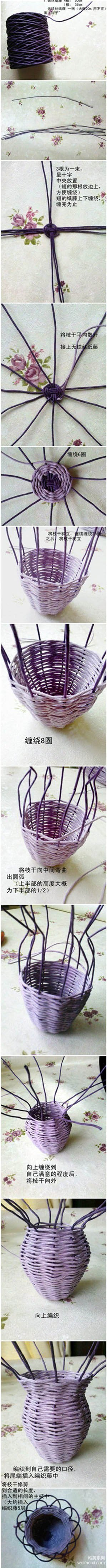 weaved flower basket or vase tutorial
