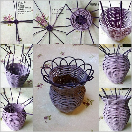 How To DIY Woven Flower Vase From Paper Roll