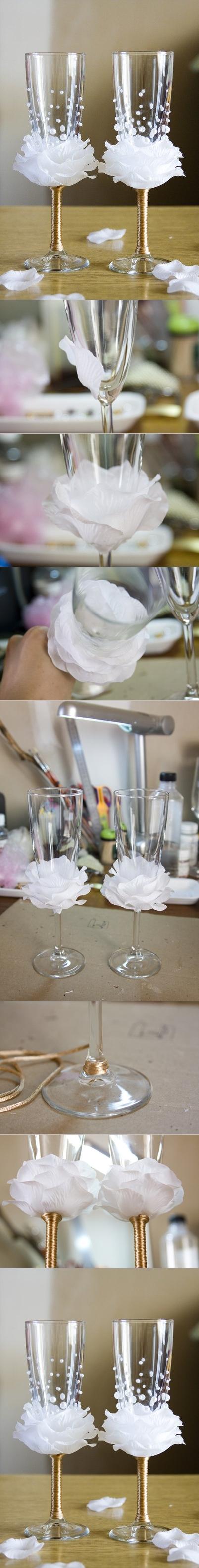 Diy Decorated Wedding Champagne Glasses Les Baux De Provence