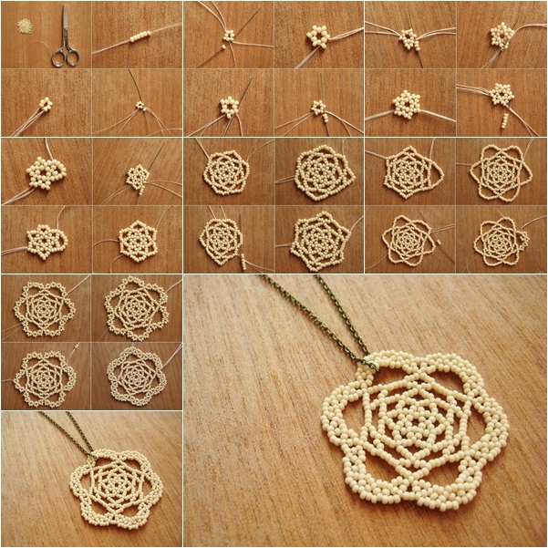 Diy beaded rose necklace pendant mozeypictures Choice Image