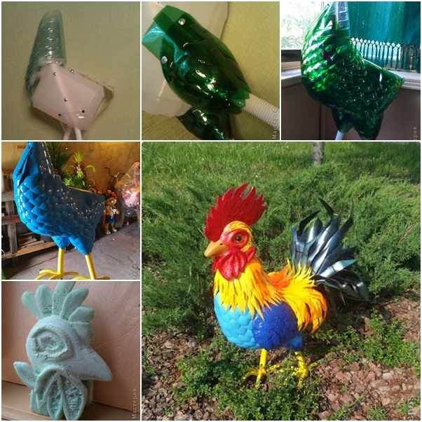 Diy beautiful cock from recycled plastic bottles www for Garden decorations from recycled materials