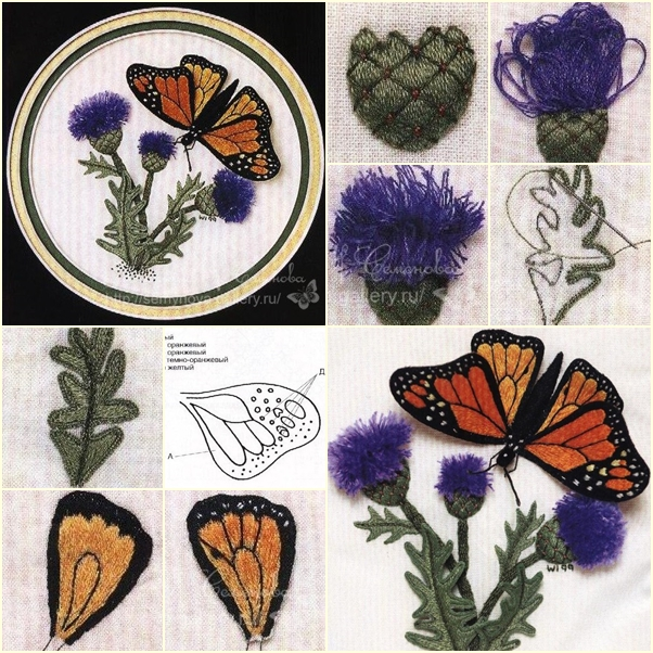 DIY Beautiful Thread Embroidery Butterfly on Dandelion