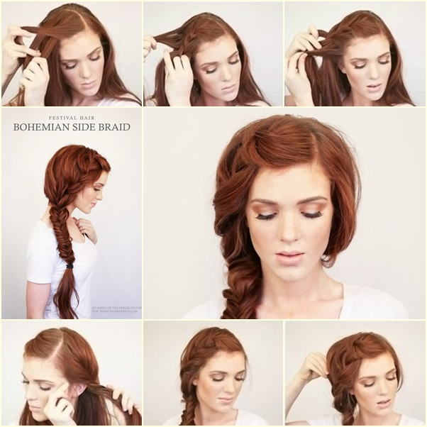 DIY Bohemian Side Braid Hairstyle Fab Art