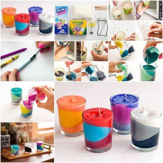 DIY Colorful Block Candles from Broken Crayons